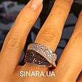Модное кольцо Waves - Брендовое серебряное кольцо с коньячными фианитами, фото 4