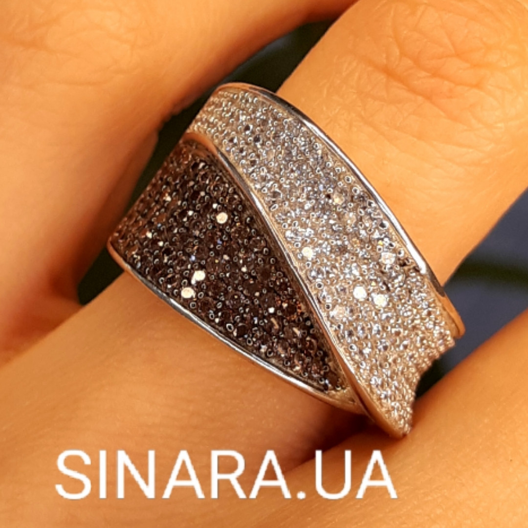 Модное кольцо Waves - Брендовое серебряное кольцо с коньячными фианитами
