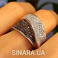 Модное кольцо Waves - Брендовое серебряное кольцо с коньячными фианитами, фото 2