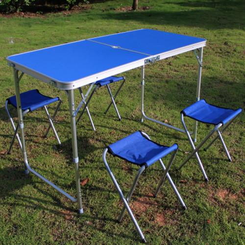 Кемпинговый набор стол и 4 стула СИНИЙ