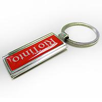 """Брелок для ключей """"узкий прямоугольник"""" из металла с логотипом, фото 1"""