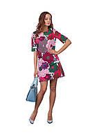 Женское летнее короткое платье с ярким цветочным рисунком, фото 1