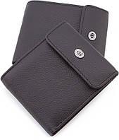 Оригинальный кожаный мужской  кошелёк черного цвета ST