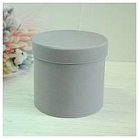 Бархатная круглая коробка для цветов d=20 h=15 см серая