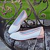 Балетки кожаные на низком ходу, цвет белый/пудра, фото 4