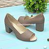 Туфли кожаные с открытым носком, на невысоком устойчивом каблуке, цвет визон, фото 2