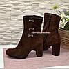 Ботинки   замшевые на высоком устойчивом каблуке, цвет коричневый, фото 3