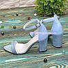Босоножки женские кожаные на устойчивом каблуке, цвет голубой, фото 2