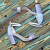 Босоножки женские кожаные на устойчивом каблуке, цвет голубой, фото 3