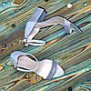 Босоножки женские кожаные на устойчивом каблуке, цвет голубой, фото 4
