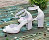 Босоножки женские кожаные на высоком устойчивом каблуке, цвет белый, фото 2