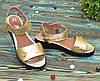 Стильные кожаные босоножки на утолщенной подошве, цвет золото, фото 2