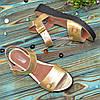 Стильные кожаные босоножки на утолщенной подошве, цвет золото, фото 3