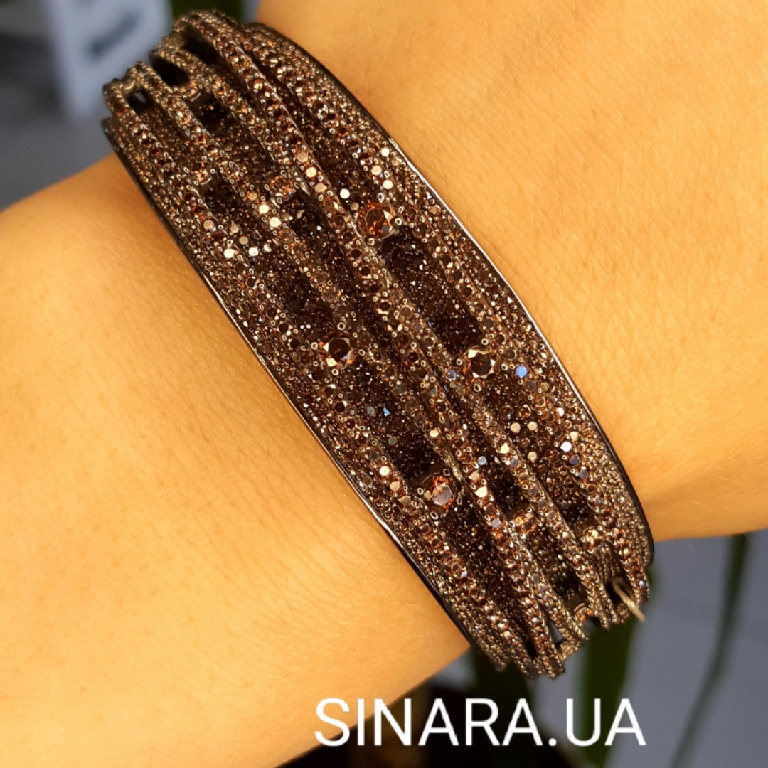 Роскошный браслет с коньячными фианитами - Брендовый серебряный браслет с черным родием