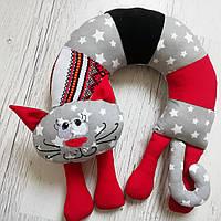 """Подушка под шею"""" Серый кот""""звезды"""