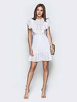 d5151c7137cf12 Кокетливе жіноче плаття з бавовни з ажурною вишивкою білий розмір 44 46 48