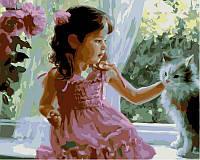 Картины по номерам на холсте 40 × 50 см. Девочка и кот худ Волегов, Владимир