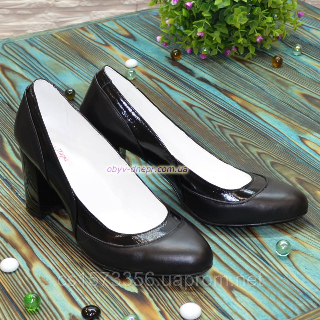 Туфли женские комбинированные на устойчивом каблуке, цвет черный