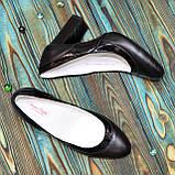 Туфли женские комбинированные на устойчивом каблуке, цвет черный, фото 3