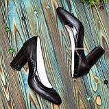 Туфли женские комбинированные на устойчивом каблуке, цвет черный, фото 4
