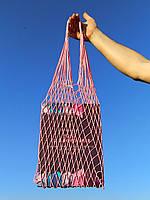 Шоппер сумка - Плетеная Авоська - на плечо розовая, фото 1