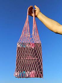 Шоппер сумка - Плетеная Авоська - на плечо розовая