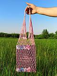Шоппер сумка - Плетеная Авоська - на плечо розовая, фото 3