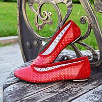 Балетки комбинированные из натуральной кожи и замши на низком ходу, цвет красный, фото 1