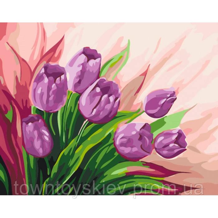 """Картина по номерам. Цветы """"Персидские тюльпаны"""" 40*50 *  KHO2924"""