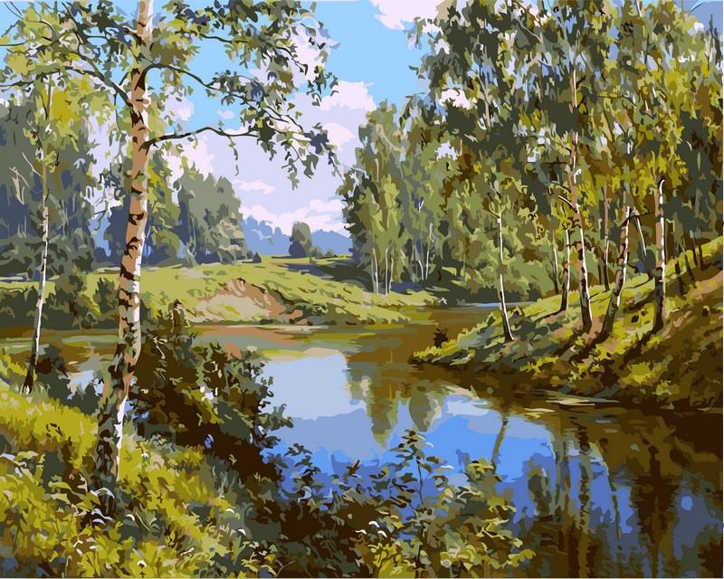 Картины по номерам 40×50 см. Тихая речка