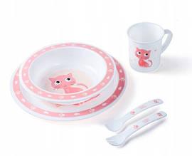 Набор посуды Cute Animals пластиковый с розовым котиком «Canpol babies» (4/401_pin)