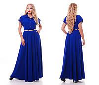 Летнее платье в пол, электрик с 48-54 размер, фото 1