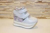 Кроссовки сникерсы белые женские на липучках Т976 Код:941915454