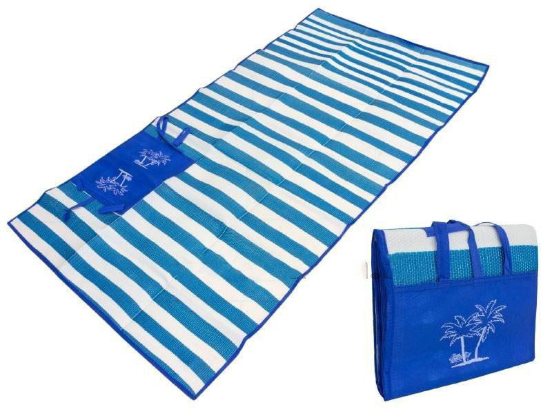 """Пляжный коврик-сумка складной """"Пальмы"""" 170х90 см (Синий)"""