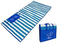 """Пляжный коврик-сумка складной """"Пальмы"""" 170х90 см (Синий), фото 1"""