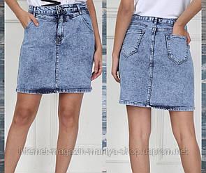 Юбка женская джинсовая карманы варенка 34-40 (лето)