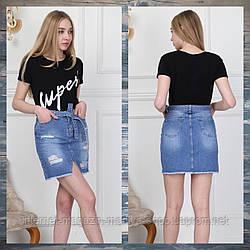 Юбка женская джинсовая карманы рванка пояс 34-40 (лето)