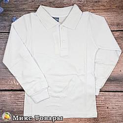 Белое поло с длинным рукавом для мальчика Размеры: 122,128,134,140 см (8687)