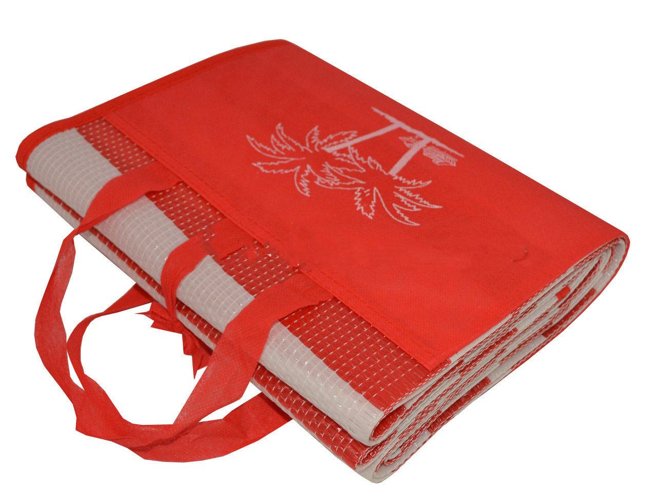 """Пляжный коврик-сумка складной """"Пальмы"""" 170х90 см (Красный)"""
