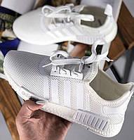 Adidas NMD Runner R1 White | кроссовки женские и мужские; белые; летние