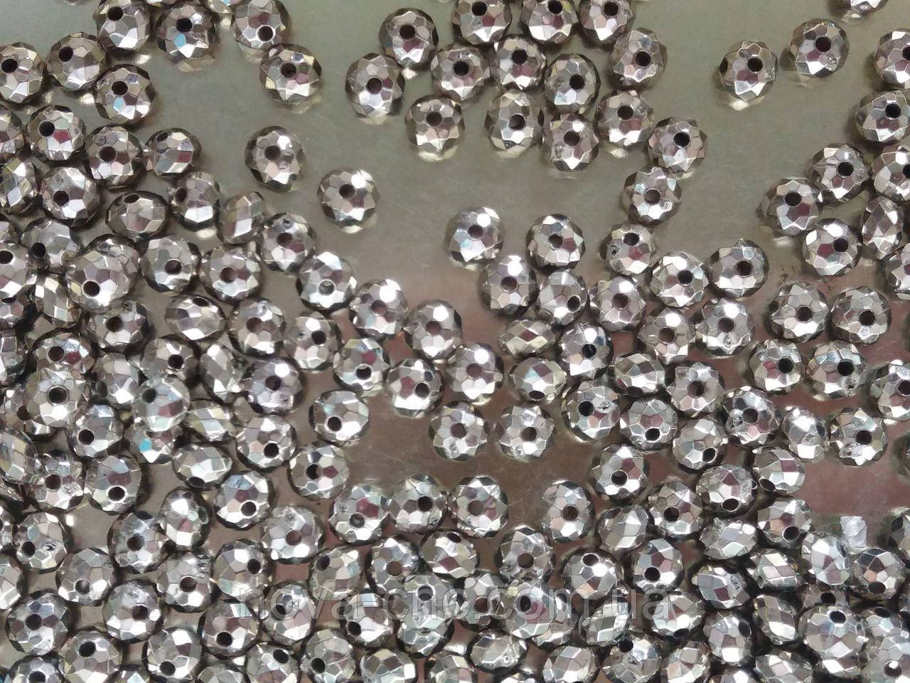 """Намистини """"Рондель"""" срібло 6 мм 500 грам"""