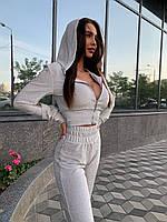 Женский костюм из люрекса с топом на молнии и штанами 20st1262