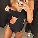 Женский черный купальник сдельный открытый 72kb257, фото 2