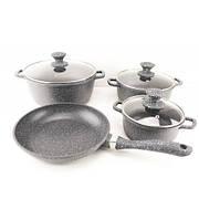 Набор посуды с мраморным покрытием, 7 предметов A-Plus 1501, фото 1