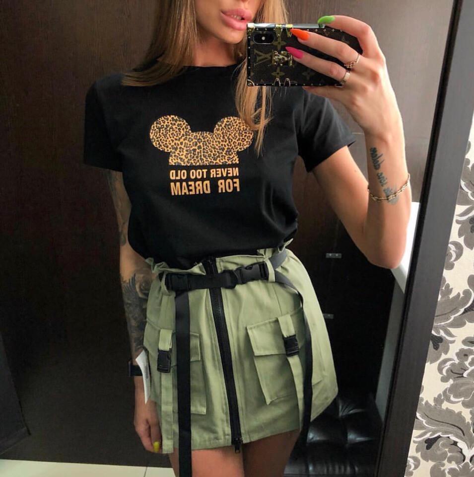 Коттоновая женская юбка с ремешками и накладными карманами 68wa255