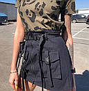 Коттоновая женская юбка с ремешками и накладными карманами 68wa255, фото 4