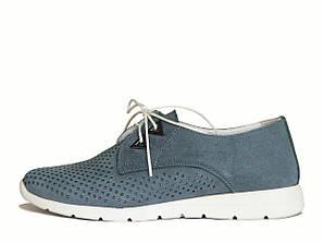 Голубые замшевые туфли с перфорацией