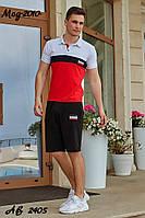 Мужской летний спортивный костюм с шортами №2010 (р.48-54) бело-красный, фото 1