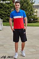 Мужской летний спортивный костюм с шортами №2010 (р.48-54) электрик-красный, фото 1