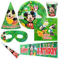 Праздничный набор бум. на 6чел (салфетки, тарелки, стаканы, дудки, колпаки, баннер, очки)